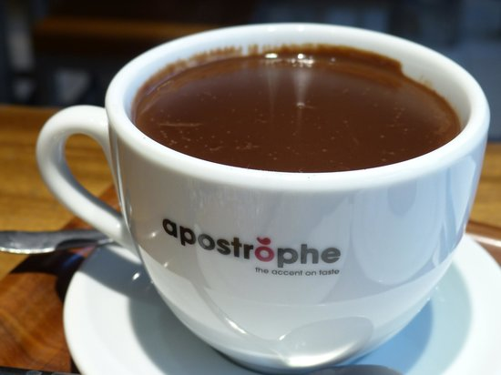 Cup of hot chocolate at apostrophe