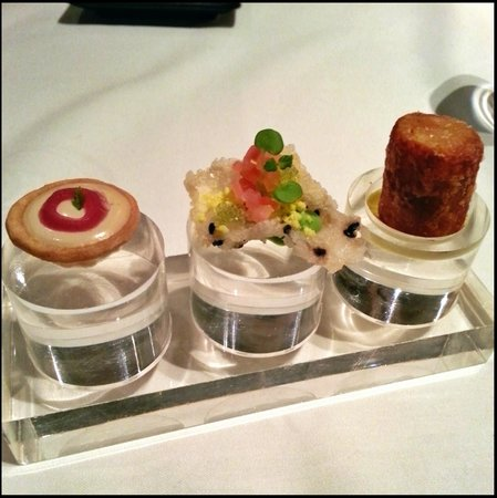 A trio of amuse-bouche