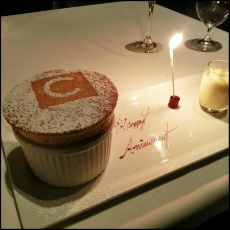Canlis Restaurant : Canlis Soufflé with Grand Marnier, orange zest, and crème anglaise