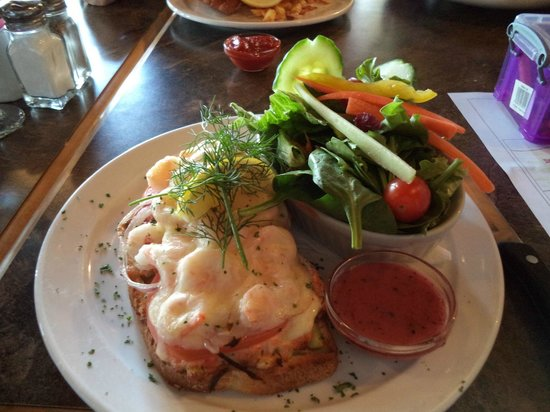 Salmon Point Restaurant : Seafood Melt smoked salmon salad, shrimp, Swiss cheese, tomato, and red onion over sourdough bre