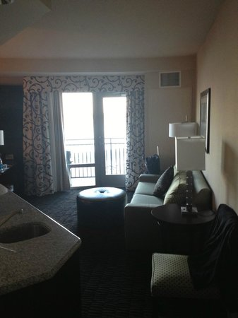 Hampton Inn & Suites Baton Rouge Downtown : Separate sitting room with Pull Out Couch, TV