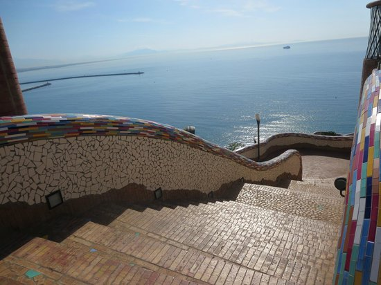 ceramica solimene: steps down to the sea across the street from factory