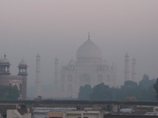 Shanti Lodge: early morning Taj from the roof-top restaurant