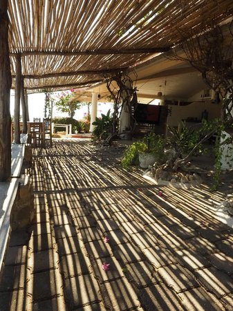 Posada Arigalan: mid-day sun streaming through the bamboo roof of a common area pateo