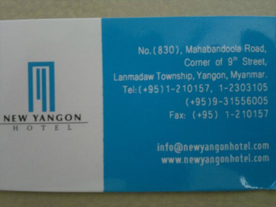 New Yangon Hotel: contact hotel