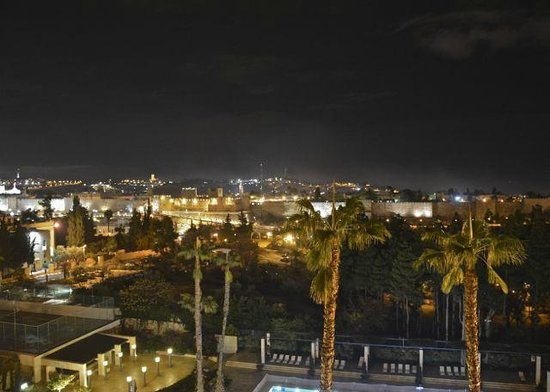 The King David: Our view of the Old City Jerusalem at night...