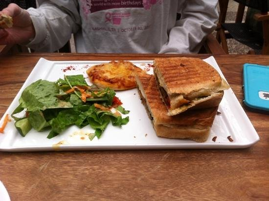 Cafe Forte: veggie panini, salad, and a pizza appetizer