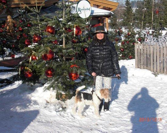 Rasmushof Hotel Kitzbühel: Vor dem weihnachtlich geschmückten Rasmushof