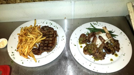 The Bistro at Sky Beach Club: Must try Steak Frites with Fries & Lamb with sautéed Green Beans & Jasmine Rice the perfect gril