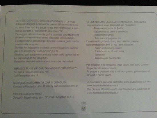 Hotel Palazzo Cavalieri : Rules 3