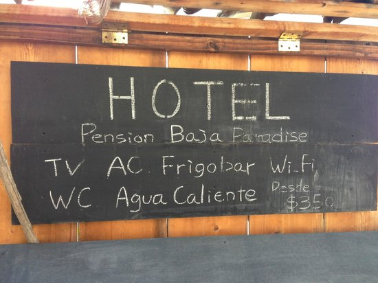 Baja Paradise: Hotel sign outside the lodging