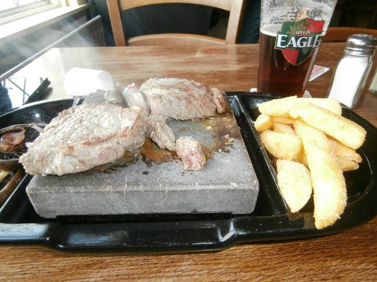 Swaffham Bulbeck, UK: Close up of the Rock Sirloin steak