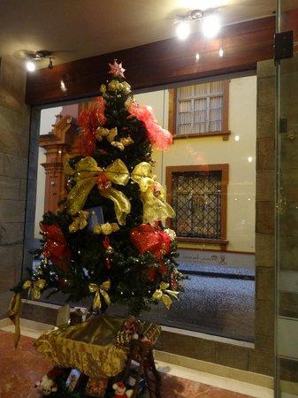Royal Inn Hotel: Loby del Hotel con vista a la calle y el granizo