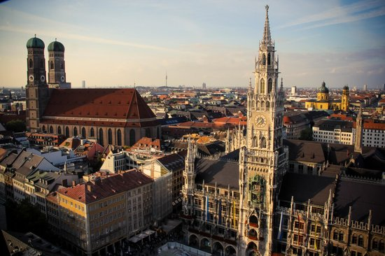 Big Hat Tours: A view of Munich from a tower Curt recommended we climb post tour!