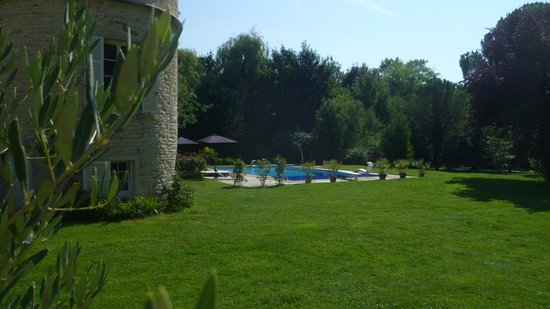 Chateau Mirande: Olive tree, old tower and swimming pool