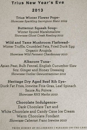Trius Winery : New Year's menu