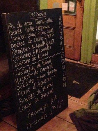 L'Affaire Est Ketchup : Chalkboard menu