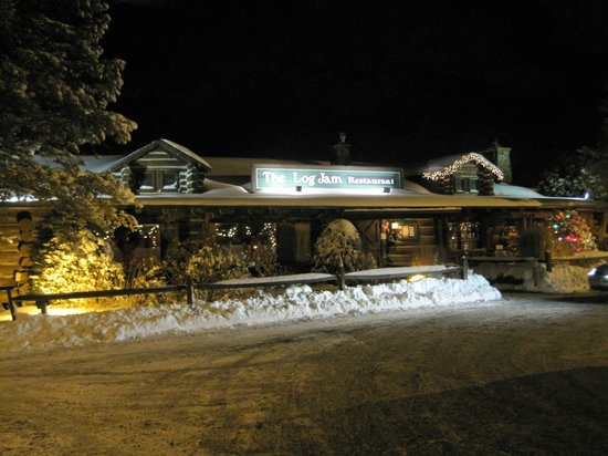 Log Jam Restaurant: Exterior on a cold winters night
