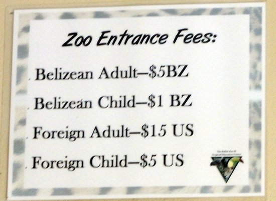 Price To Enter Zoo Belizean Prices Went Up 1 1 14 Picture Of The
