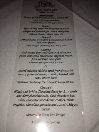 Back Bistro: New Year's Eve Menu