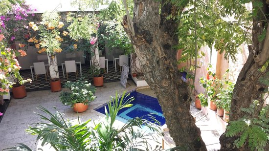 La Casa del Farol Hotel Boutique : the restaurant/hot tub area