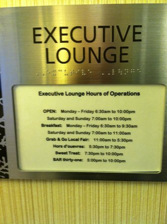 JW Marriott Indianapolis: Exec lounge hours