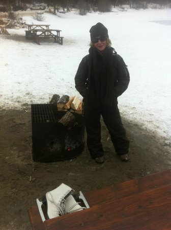 Pyramid Lake Resort: by the firepit after a nice skate