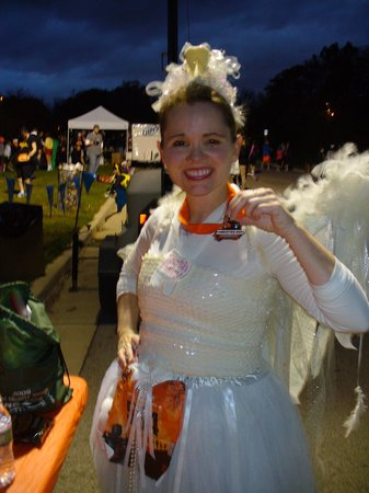 Schuster Mansion Bed & Breakfast: Monster Dash - wearing wings made by innkeeper Laura Sue