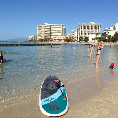 Aston Waikiki Beach Hotel: from beach about to go SUPg, 100m from hotel frontage
