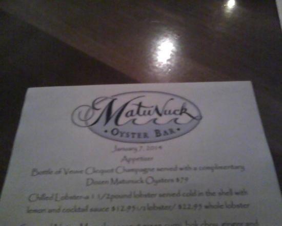 Matunuck Oyster Bar: A Seafood delight !