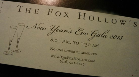 The Inn At Fox Hollow Hotel : Gala ticket