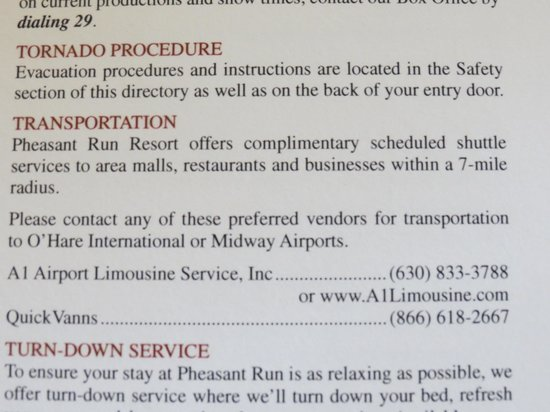 Pheasant Run Resort: Shuttle Service Literature.