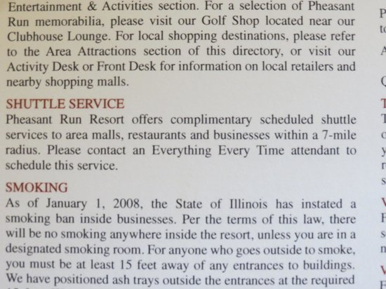 Pheasant Run Resort and Convention Center: Additional Shuttle Service Literature.