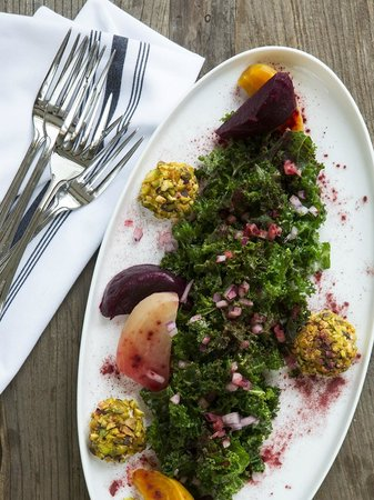Peppercorn: Roasted Beet and Kale Salad with Pistachio Crusted Goat Cheese