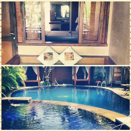 Nyiur Indah Beach Hotel: the bedroom and swimming pool side