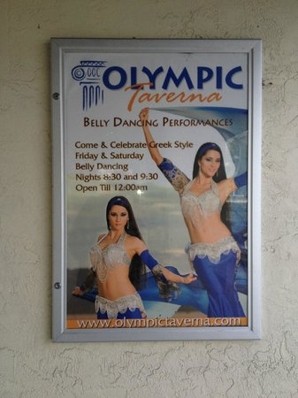 Olympic Taverna: Poster for the belly dancer