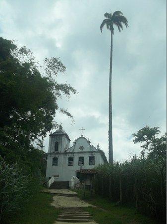Pousada Jamanta: Igreja de Freguesia de Santana e seu famoso coqueiro - Ilha Grande - LimaJr.