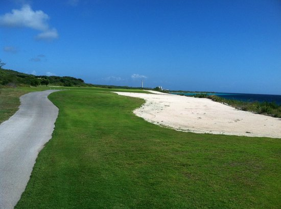 Old Quarry Golf Course: Typical Curacao view of the ocean with an oil refinery lurking to spoil the picture!