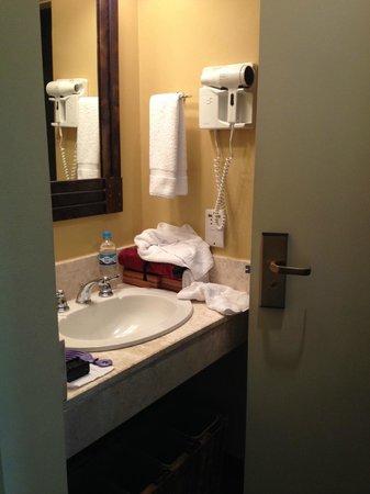 Belmond Sanctuary Lodge: $765 / night:  Bathroom the size of a pinhead.
