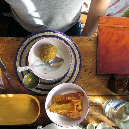 Cafe Dios No Muere: Fried Yucca and Fried Plantain Ball with Cheese
