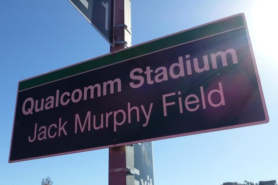 Qualcomm Stadium: Sign at trolley line stop