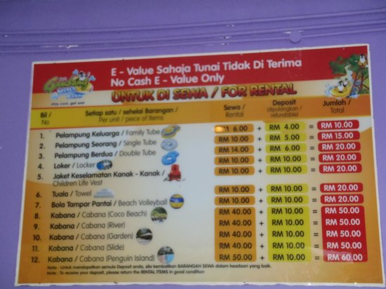Bukit Gambang Resort City: water park rental fee