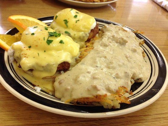 Take A Break Cafe: Crabcake Benedict with hash brown potatoes covered in sage sausage gravy. Wow!