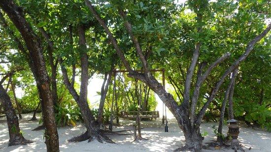Reethi Beach Resort: Swing in front of each Villa