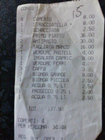 Marghera, Italy: Conto..un pò caro...
