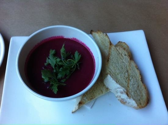 Jah'z: Beetroot and potato soup with house-made bread