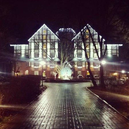 Holosiivskyi Hotel: Hotel at night, illuminated really nicely