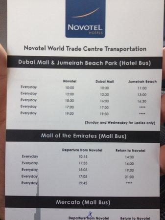 Novotel World Trade Centre Dubai: Free shuttle from Novotel to Malls - timing