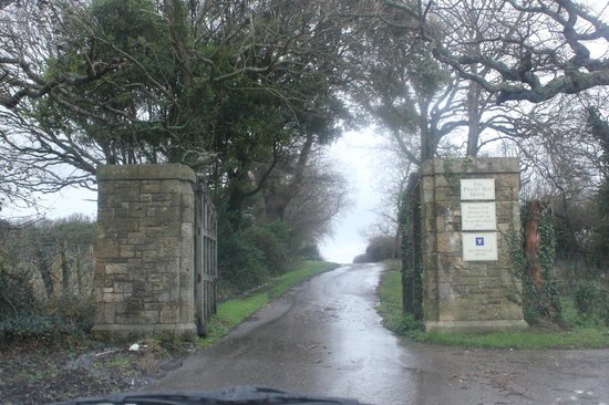 The gates to Priory Bay Hotel