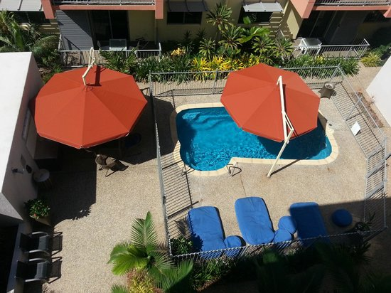 Quest Parap: View from Balcony: Pool, & BBQ area